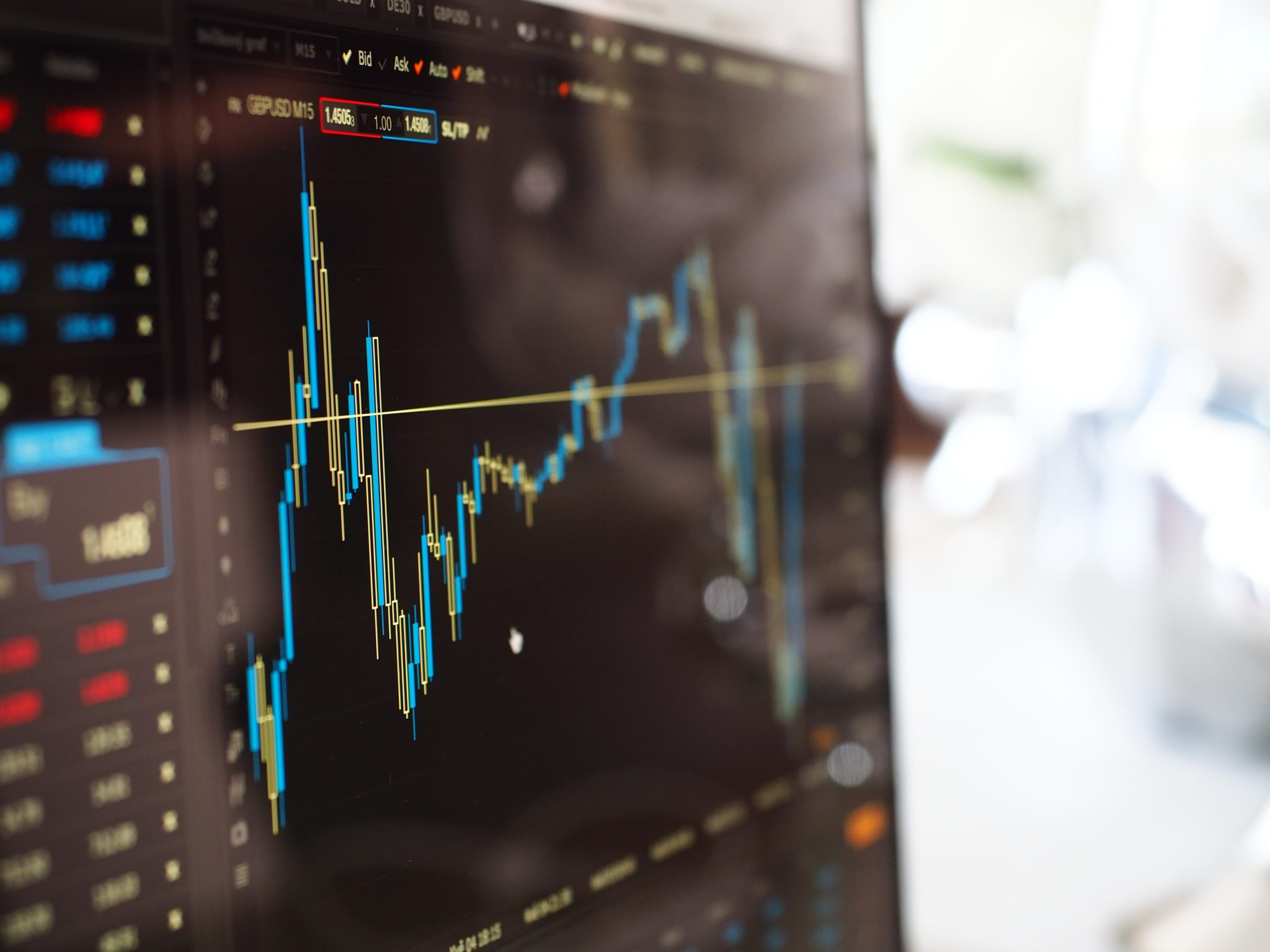 Computer screen showing stock market trends
