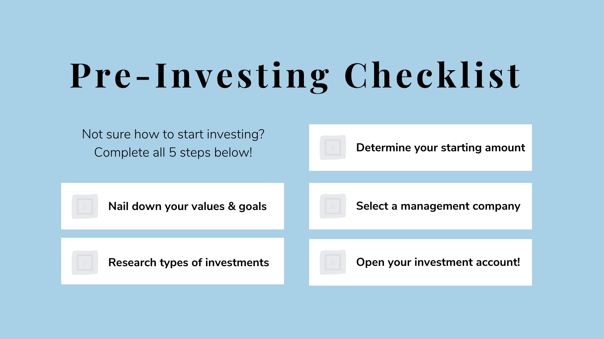 Pre-Investing Checklist 2021 Invested Interests
